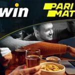 Il logo di bwin, il logo di Parimatch, dei ragazzi che scommettono online