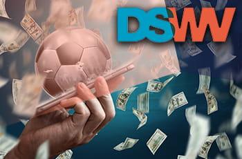 Il logo della DSWV, una pioggia di banconote e uno smartphone con un pallone da calcio