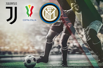 I loghi di Juventus, Inter e Coppa Italia e un calciatore in azione