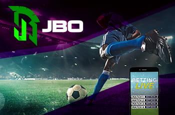 Il logo di JBO, un calciatore in azione e uno smartphone