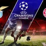 I loghi di Lazio, Bayern Monaco e Champions League e due calciatori in azione