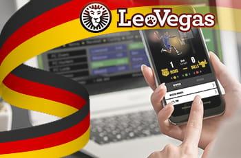 Il logo di LeoVegas, la bandiera tedesca e una ragazza con uno smartphone