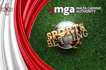Il logo di Malta Gaming Authority, la scritta Sports Betting e la bandiera maltese