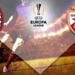 Il logo del Milan, il logo dell'Europa League, il logo della Stella Rossa Belgrado