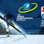 Il logo dei mondiali di biathlon IBU e dei mondiali di sci alpino di Cortina
