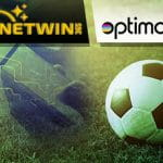 I loghi di Planetwin365 e Optimove e un pallone da calcio