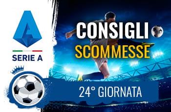 Il logo della Serie A, un calciatore al tiro e la scritta Consigli scommesse 24° giornata