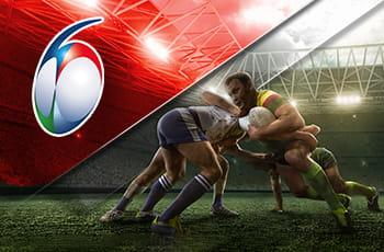 Il logo del Sei Nazioni e giocatori di rugby in azione