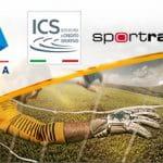 I loghi di Lega Serie A, ICS e Sportradar e un portiere di calcio in azione