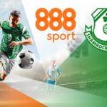 I loghi di 888sport e Shamrock Rovers e un calciatore in azione