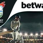 I loghi del T20 Challenge e di Betway e un giocatore di cricket in azione