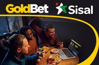 I loghi di GoldBet e Sisal e dei ragazzi davanti allo schermo di un laptop