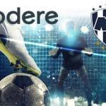 I loghi di codere, Monterrey Rayados e dei calciatori in azione