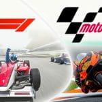 I loghi di Formula 1 e MotoGP, una monoposto e una moto