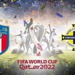 Il logo della nazionale italiana, il logo dei mondiali di Qatar 2022, il logo della nazionale dell'Irlanda del Nord