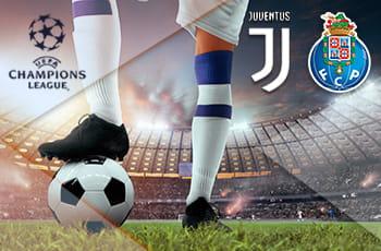 Il logo della Juventus, il logo del Porto FC, il logo della Champions league e un calciatore con un pallone