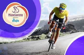 Il logo della Milano-Sanremo 2021 e un ciclista generico in azione
