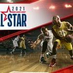 Il logo dell'All Star Game 2021 e dei giocatori di basket NBA in azione