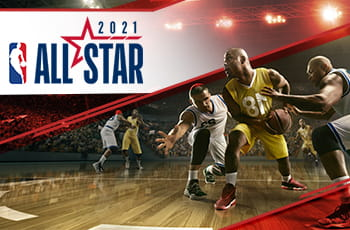 Il logo dell'All Star Game 2021 e dei giocatori di basket NBA in azione