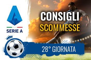 Il logo della Serie A, un calciatore al tiro e la scritta Consigli scommesse 28° giornata
