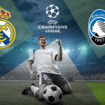 Il logo del Real Madrid, il logo della Champions League, il logo dell'Atalanta, un giocatore di calcio generico che esulta.