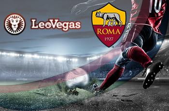 I loghi di LeoVegas, della Roma e un calciatore in azione