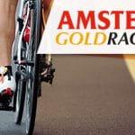 Il logo della Amstel Gold Race 2021 e un ciclista generico in azione