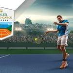 Il logo dell'ATP Master 1000 di Montecarlo e un tennista generico in azione