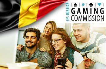 Il logo della Belgian Gaming Commission, la bandiera belga e dei ragazzi davanti a uno schermo