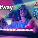 I loghi di Betway, PSG.LGD e un giocatore di eSports