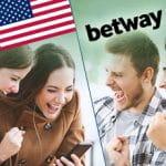 Il logo di Betway, la bandiera degli USA e ragazzi e ragazze che piazzano scommesse online