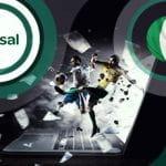 Il logo di Sisal, la bandiera italiana e dei calciatori in azione, sullo sfondo un laptop