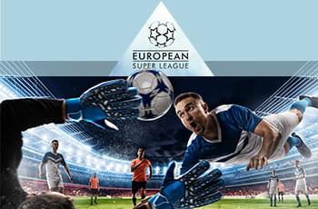 Il logo della Superleague e dei calciatori generici in azione