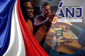 Il logo della ANJ, la bandiera francese e dei ragazzi che scommettono
