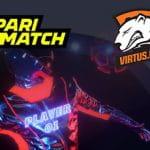 I loghi di Parimatch, Virtus.pro e un giocatore di eSports