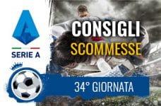 Il logo della Serie A, calciatori in azione e la scritta Consigli scommesse 34° giornata