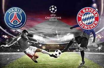 Il logo del PSG, il logo del Bayern Monaco, il logo della Champions League e due calciatori generici in azione