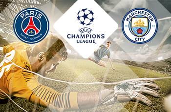 Il logo del Paris Saint-Germain, il logo della Champions League, il logo del Manchester City