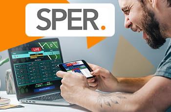 Il logo della SPER (Swedish Gambling Association) e uno scommettitore generico