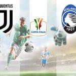 Il logo dell'Atalanta, il logo della Coppa Italia, il logo della Juventus, dei calciatori generici in azione.