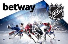 I loghi di Betway e della NHL e dei giocatori di hockey su ghiaccio