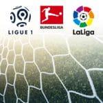 Il logo di Serie A, Premier League, Liga, Bundesliga e Ligue 1 e una rete