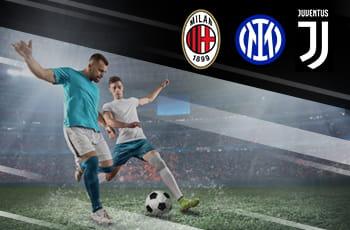 Due calciatori generici e i loghi di Milan, Inter e Juventus
