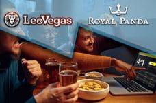 I loghi di LeoVegas e Royal Panda e della gente davanti a un laptop