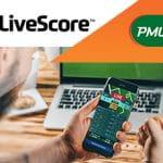 I loghi di LiveScore e PMU, un laptop e uno smartphone