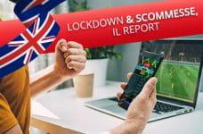 La bandiera dello UK, un ragazzo che scommette e il titolo Lockdown e scommesse: il report