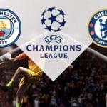 Il logo del Manchester City, il logo della Champions League, il logo del Chelsea