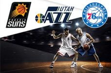 I loghi di Phoenix Suns, Utah Jazz e Philadelphia 76ers e dei giocatori di basket in azione