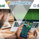 I loghi di Lottomatica, Sisal e SNAI, un laptop e uno smartphone