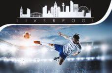 Un calciatore in azione e la stilizzazione dello skyline di Liverpool